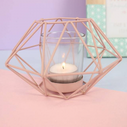 Metal Pastel Pink Geometric Design Candle Tea Light Holder